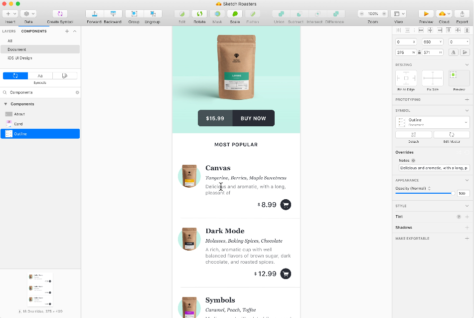 Sketchapp Prototyping Tools screenshot