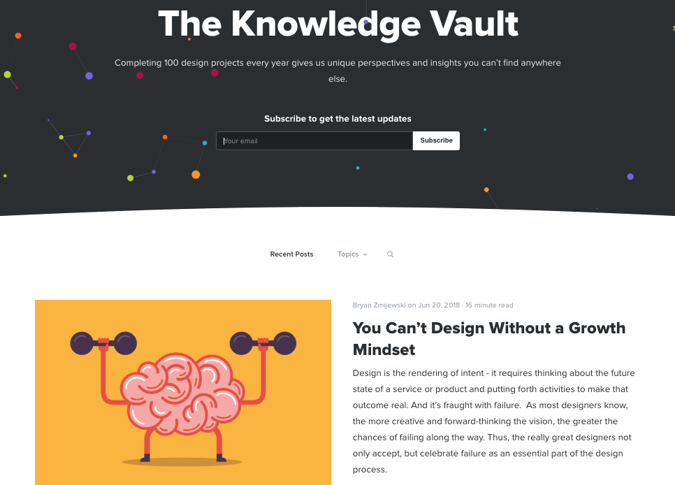 Screenshot Of The Knowledge Vault by Zurb