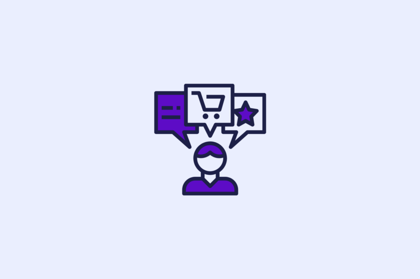 illustration of Customer Experience Management software with a customer experience manager with shopping cart and other icons above their head