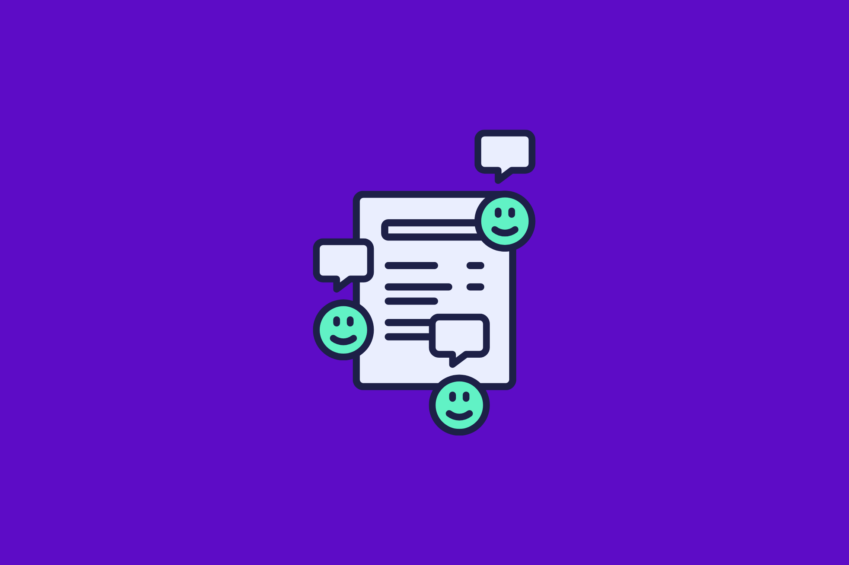 illustration of a customer experience survey report with smiley faces and chat bubbles around it
