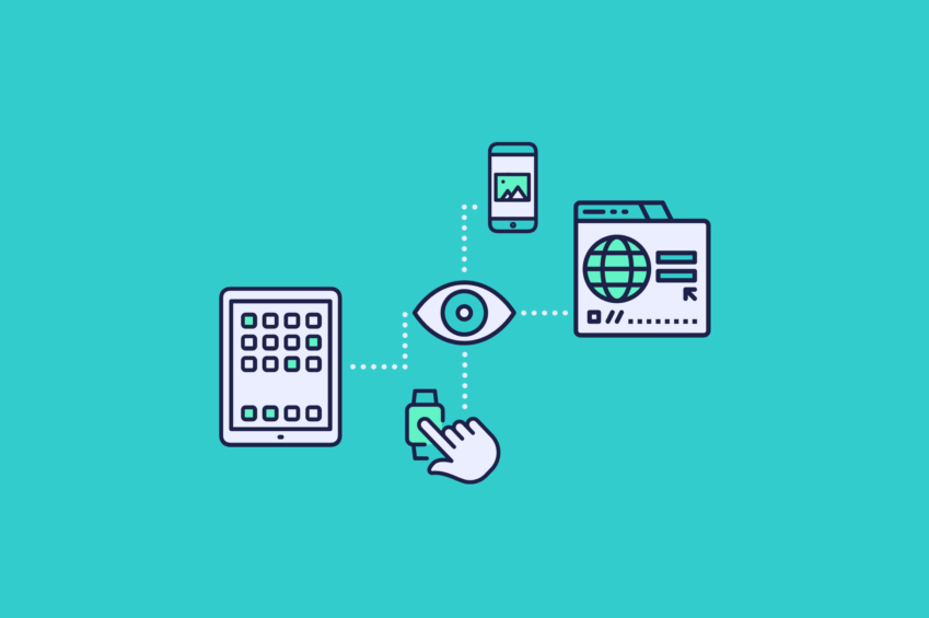 illustration of an eye connected to a tablet, smart watch, phone, and browser Digital Experience Monitoring