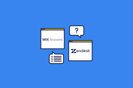 illustration of desktop screenshots showing the Wix Answers VS Zendesk logos