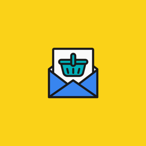 illustraion of a shopping cart in a envelope for customer service email management software