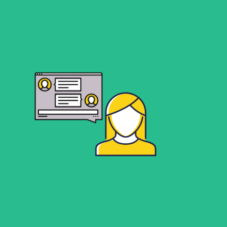 illustration of a user next to a desktop with a chat window for customer service chat software for small businesses