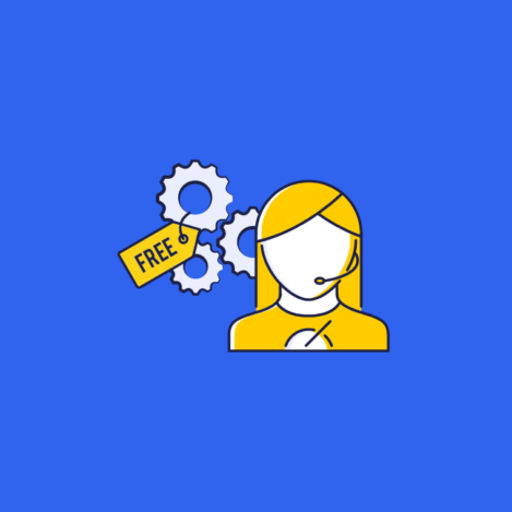 illustration of a customer service agent with gears and a price tag showing free for free customer service software