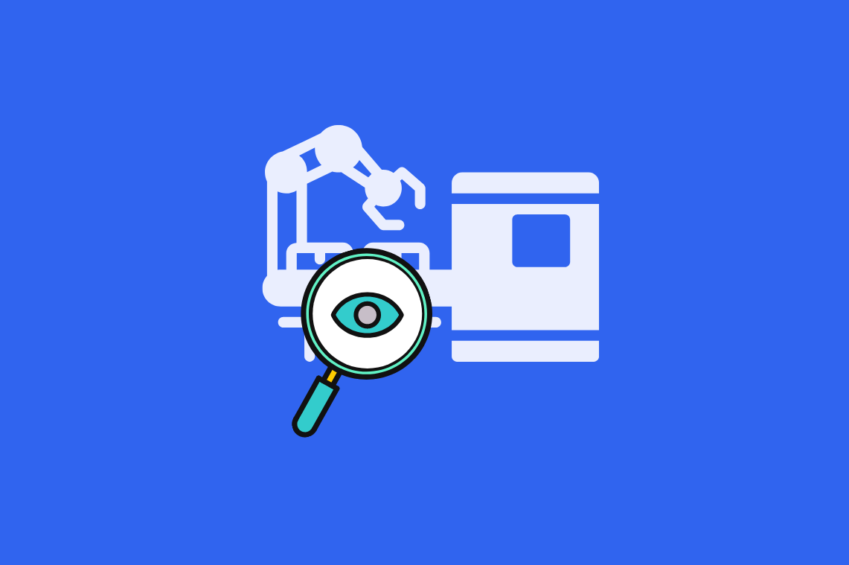 illustration of machine learning with a magnifying glass and an eye