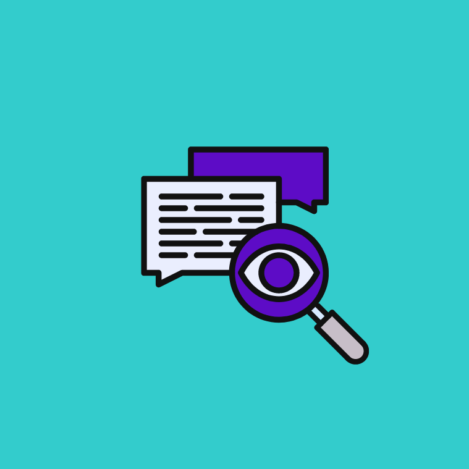 magnifying glass inspecting text for how does sentiment analysis work