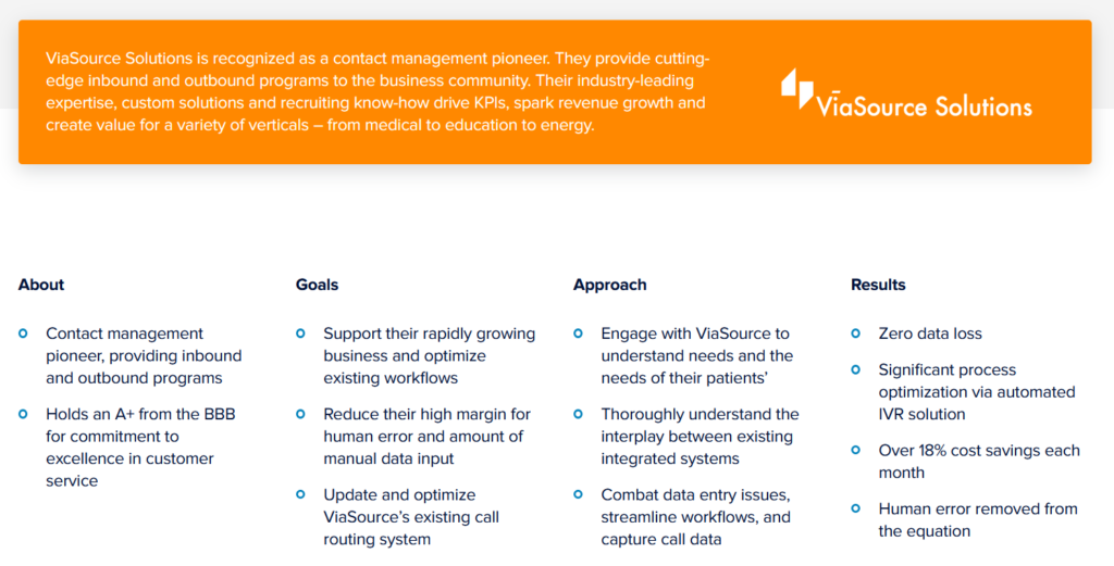screenshot of Connect First's success stories page for customer service goals