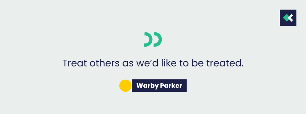 Graphic Of Warby Parker customer service philosophy