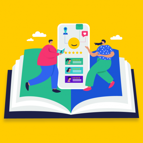 customers on a book for customer experience books